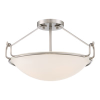 Signature 3 Light 18 inch Brushed Nickel Semi-Flush Mount Ceiling Light