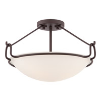 Signature 3 Light 18 inch Western Bronze Semi-Flush Mount Ceiling Light