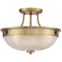 Quoizel QF3631WS Signature 3 Light 13 inch Weathered Brass Semi-Flush Mount Ceiling Light