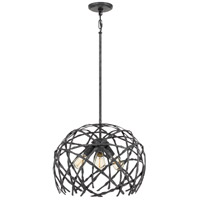 Quoizel QF4031OK Pantheon 3 Light 18 inch Old Black Pendant Ceiling Light
