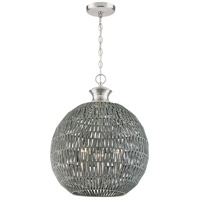Casablanca 3 Light 18 inch Brushed Nickel Pendant Ceiling Light