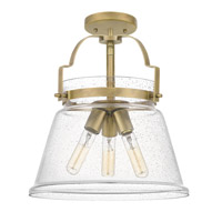 Quoizel QF5113WS Wimberly 3 Light 14 inch Weathered Brass Semi-Flush Mount Ceiling Light