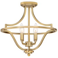 Quoizel QF5119WS Harvel 4 Light 16 inch Weathered Brass Semi-Flush Mount Ceiling Light