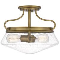 Quoizel QF5222WS Tucker 2 Light 14 inch Weathered Brass Semi-Flush Mount Ceiling Light
