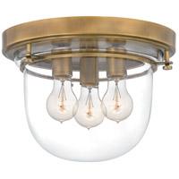 QFL5287WS Quoizel Quoizel 3 Light 13 inch Weathered Brass Flush Mount Ceiling Light