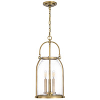 Quoizel QP5194WS Colonel 3 Light 11 inch Weathered Brass Mini Pendant Ceiling Light