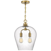 Quoizel QPP4028WS Snowville 2 Light 13 inch Weathered Brass Mini Pendant Ceiling Light