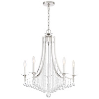 Queenship 5 Light 25 inch Polished Nickel Chandelier Ceiling Light