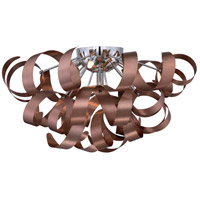 Ribbons 5 Light 22 inch Satin Copper Flush Mount Ceiling Light