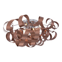Ribbons 6 Light 28 inch Satin Copper Flush Mounts Ceiling Light