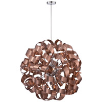 Ribbons 12 Light 31 inch Satin Copper Pendant Ceiling Light