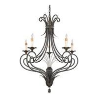 Quoizel Lighting Brittany 5 Light Chandelier in Serengeti Black And Mayan Gold Leaf RBT5005SM photo thumbnail