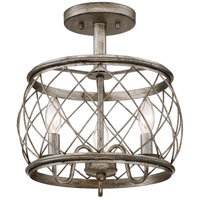 Quoizel RDY1712CS Dury 3 Light 13 inch Century Silver Leaf Semi-Flush Mount Ceiling Light