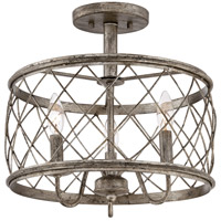 Dury 3 Light 15 inch Century Silver Leaf Semi-Flush Mount Ceiling Light