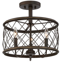 Dury 3 Light 15 inch Palladian Bronze Semi-Flush Mount Ceiling Light