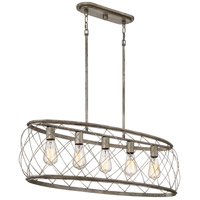 Quoizel RDY538CS Dury 5 Light 38 inch Century Silver Leaf Island Chandelier Ceiling Light