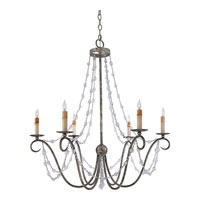 Quoizel Lighting Elise 6 Light Chandelier in Inca Silver Leaf REL5006IC