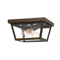 Rue De Royal 2 Light 12 inch Industrial Bronze Outdoor Flush Mount