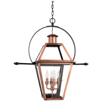 Quoizel Lighting Rue De Royal 4 Light Outdoor Hanging Lantern in Aged Copper RO1914AC