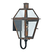 Quoizel Rue De Royal 1 Light Outdoor Wall Lantern in Aged Copper RO8410ACFL