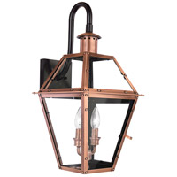 Quoizel Lighting Rue De Royal 2 Light Outdoor Wall Lantern in Aged Copper RO8411AC