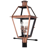 Quoizel Lighting Rue De Royal 4 Light Outdoor Post Lantern in Aged Copper RO9014AC