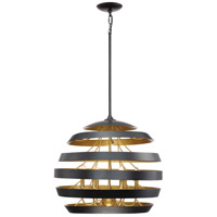 Stadium 6 Light 24 inch Mystic Black Foyer Pendant Ceiling Light