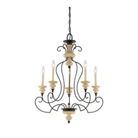 Quoizel Lighting Shelby 5 Light Chandelier in Sand Bisque And Earth Black Combination SHL5005SEC