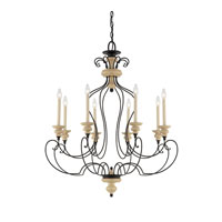 Quoizel Lighting Shelby 8 Light Chandelier in Sand Bisque And Earth Black Combination SHL5008SEC