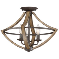 Shire 3 Light 17 inch Rustic Black Semi-Flush Mount Ceiling Light