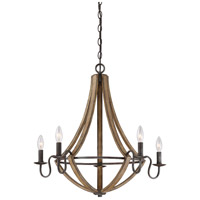 Shire 5 Light 27 inch Rustic Black Chandelier Ceiling Light