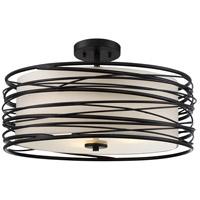 Quoizel SPL1720K Spiral 3 Light 20 inch Mystic Black Semi-Flush Mount Ceiling Light