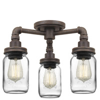 Quoizel SQR1716RK Squire 3 Light 16 inch Rustic Black Semi-Flush Mount Ceiling Light