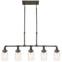 Squire 5 Light 38 inch Rustic Black Island Chandelier Ceiling Light