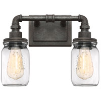 Squire 2 Light 14 inch Rustic Black Bath Light Wall Light