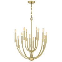 Quoizel STN5012Y Strand 12 Light 27 inch Satin Brass Chandelier Ceiling Light
