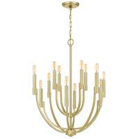 Quoizel STN5012Y Strand 12 Light 27 inch Satin Brass Chandelier Ceiling Light