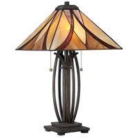 Tiffany 25 inch 75 watt Valiant Bronze Table Lamp Portable Light