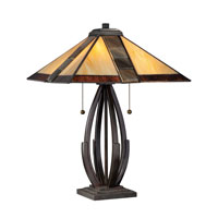 Quoizel Lighting Tiffany 2 Light Table Lamp in Valiant Bronze TF1181TVA photo thumbnail