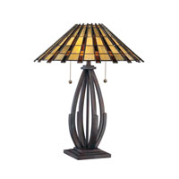 Quoizel Lighting Tiffany 2 Light Table Lamp in Valiant Bronze TF1258TVA
