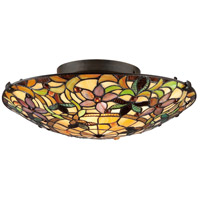 Quoizel TF1396SVB Tiffany 2 Light 17 inch Vintage Bronze Flush Mount Ceiling Light, Naturals
