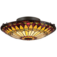 Quoizel TF1400SVB Tiffany 2 Light 17 inch Vintage Bronze Flush Mount Ceiling Light, Naturals photo thumbnail