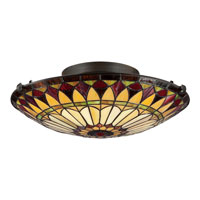 Quoizel TF1400SVB Tiffany 2 Light 17 inch Vintage Bronze Flush Mount Ceiling Light, Naturals alternative photo thumbnail