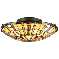 Quoizel TF1408SVB Tiffany 2 Light 17 inch Vintage Bronze Flush Mount Ceiling Light, Naturals