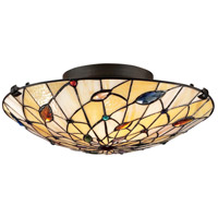 Quoizel TF1409SVB Tiffany 2 Light 17 inch Vintage Bronze Flush Mount Ceiling Light, Naturals