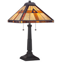 Tiffany 23 inch 75 watt Authentic Bronze Table Lamp Portable Light, Naturals