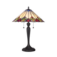 Quoizel Lighting Tiffany 2 Light Table Lamp in Authentic Bronze TF1434T