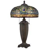 Quoizel Lighting Tiffany 2 Light Table Lamp in Authentic Bronze TF1487T