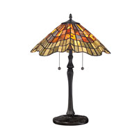 Quoizel Lighting Tiffany 2 Light Table Lamp in Vintage Bronze TF1510TVB photo thumbnail