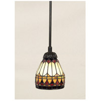 Tiffany 1 Light 6 inch Vintage Bronze Mini Pendant Ceiling Light, Naturals